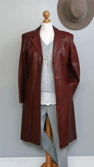 Manteau cuir bordeaux Giorgio 38