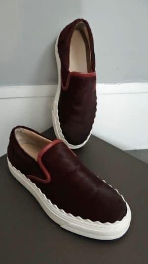 Sneakers cuir poulain bordeaux Chloé