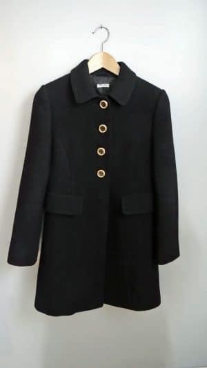 Manteau laine noir Miu Miu