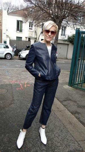 Veste comme neuve cuir bleu marine Gérard Darel
